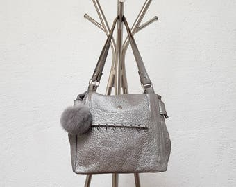 Textured silver leather bag