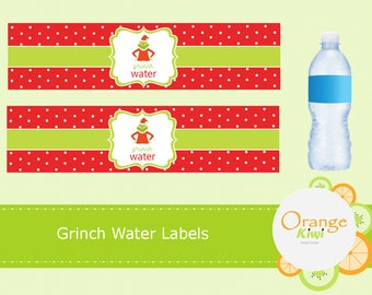 Grinch Water Labels, Water Bottle Labels, Water Bottle Wraps, Christmas Water Bottle Labels, Christmas Stickers