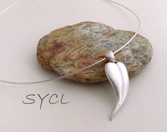 Heart Pendant Silver Necklace. Handmade Item. 99% Sterling Silver Necklace.Original and Exclusive Design.Artisan Handmade by SYCL.