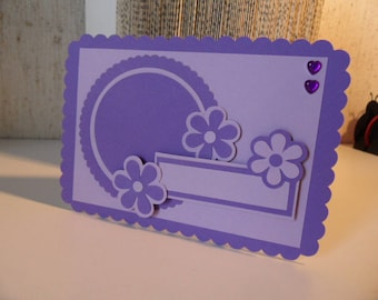 For birthday or anniversary card, card purple