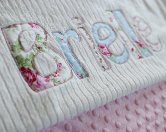 Monogrammed Baby Blanket in WIND, Pink Dot Minky and White Chenille, Personalized with Your Baby Girl's First Name in Cottage Chic