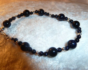 Genuine GEMSTONES - blue GOLDSTONE bracelet