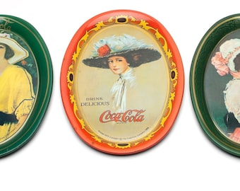 Vintage Coke Trays 3 small tip trays from Coca Cola 1973