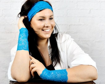 Lace bracelet Wristband Wrist cuff Lace jewelry Wrist tattoo cover up Hippie joga lace headband Blue bracelet Girlfriend gift w7230 h7230