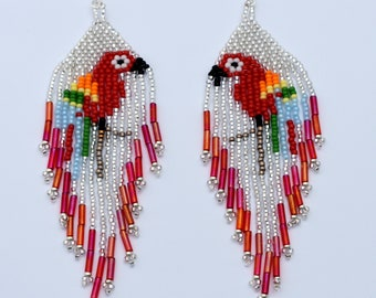 Dangling earrings,seed bead earrings,parrot earrings,boho earrings,bugle bead earrings,Southwestern earrings
