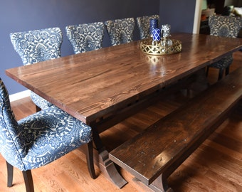 The Coraline - Antique Reclaimed Wood Trestle Table and matching Bench, Farmhouse