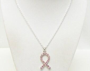Pink Rhinestone Ribbon Pendant Necklace