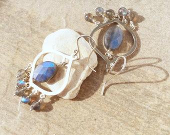 Labradorite Earrings, Labradorite Chandelier Earrings