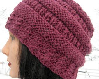 Purple Alpaca Hat. Plum Knit Hat for Men or Women, Handmade Beanie, Winter Hat
