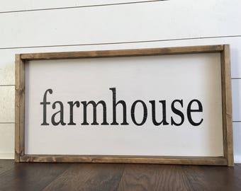 Farmhouse, farm, framed wood sign