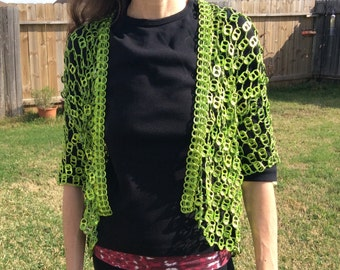 Lime Green Pull Tab Crochet Jacket