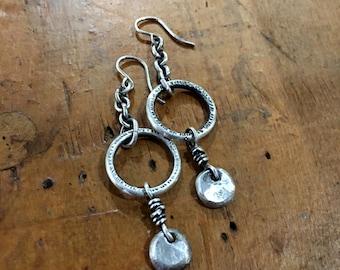 Lumpy Textured Sterling Silver Dangle Earrings