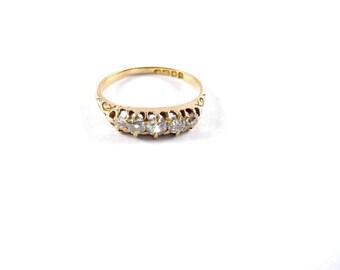 Antique British 18ct. Five Mine Cut Diamond Ring~Sheffield 1831
