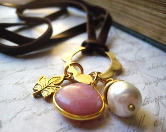 Pink Opal Necklace, Leather Necklace, Natural Pearl, Artisan Beadcap, Charm Necklace, Deerskin leather, candies64