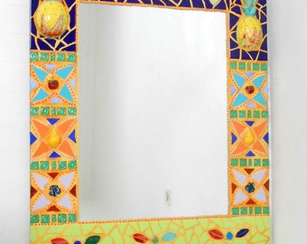 "Mirror mosaic."" Pineapple and crocodile""61 X 73 cm ceramic"