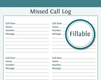 Missed Call Log - Fillable PDF Printable - Household Organizer - Printable PDF - Instant Download