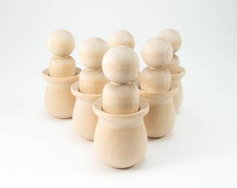 6 Wooden Peg Dolls in Unfinished Wood Cups | Wooden Peg Doll Figurine for Waldorf Montessori Sorting Game
