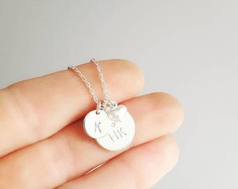 Sterling silver charms necklace | initial disc | engraved necklace | hand stamped mum charm | personalised custom jewellery| family necklace