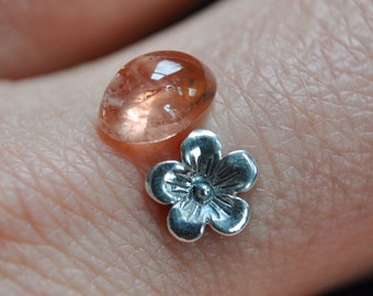 Peach Tourmaline & Blossom Stacking Ring Set (made in your size!)