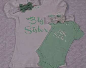 Sibling Outfits...Little Girls Clothes...Sister Shirts...Matching Sister Outfits...Big Sister Little Sister...Sister Outfits Mint and White