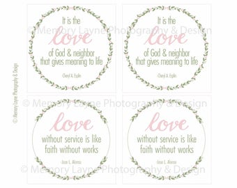 Love Quote Visiting Teaching, Relief Society or Young Women Handout and Bookmark INSTANT DOWNLOAD