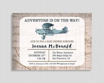 Airplane Baby Shower Invitation, Travel Shower Invite, Adventure, Baby Boy Shower, DIY PRINTABLE