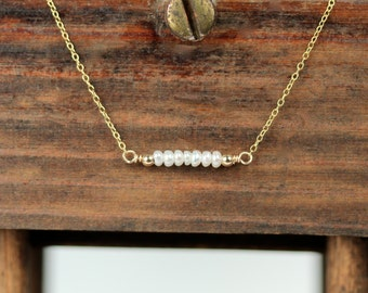 Pearl necklace - pear bar necklace - row of pearls - bridal jewelry - a row of dainty pearls wire wrapped on a 14k gold vermeil chain
