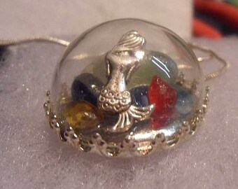 Lovely Mermaid in Dome with Sea Glass Treasures......Necklace