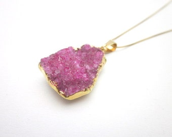 Women's Gold & Pink Pendant Necklace, Pink Rock Jewelry, Pink Gemstone Gift for Her, Pink Druzy Quartz Necklace, Pink Gemstone Jewelry
