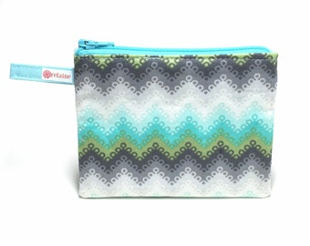 Turquoise chevron zip pouch.  Zipper pouch.  Small zip pouch.  Coin purse.  Card holder.  Gift card holder.  Business card holder.