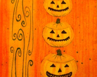 140 1 the Pumpkins of HALLOWEEN paper towel