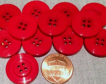 "12 Shiny Bright Red Plastic Sew-through Buttons 3/4"" 19mm # 7555"