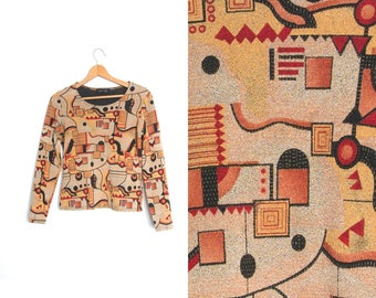 Vintage geometric graphic abstract top shirt retro 90s. Long sleeve cropped top. Blouse boho hipster.