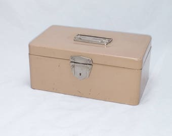 Vintage Excelsior File or Cash Box in Beige - Industrial Appeal