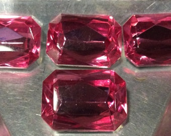 Vintage Pink Octagon Rhinestones 25x18mm QTY - 2