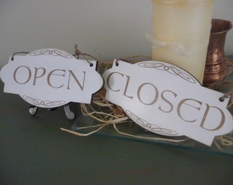 Open Sign, Double Sided Open Closed Sign, Shabby Chic Wooden Sign, Business Door Sign, Distressed Plaque, Celtic Shop Sign
