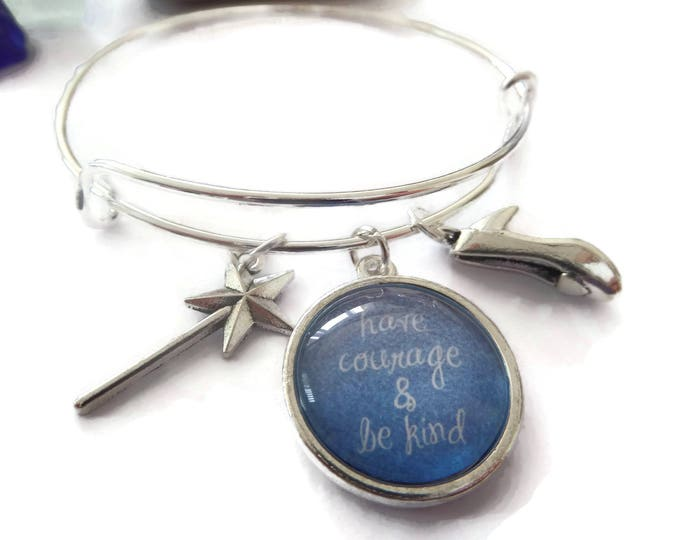 """CINDERELLA inspired 20mm glass dome """" have courage and be kind """" 65mm silver tone expandable bangle with charms fan gift jewellery Uk"""