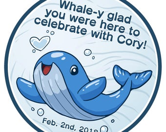 12 Personalized Whale Thank You Sticker