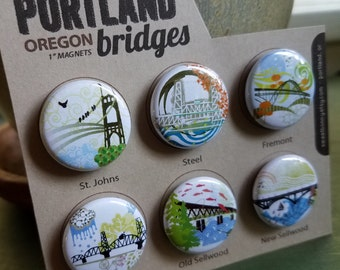 Portland Bridges 1 inch Super Strong Magnets Set of Six