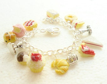 High Tea  Charm Bracelet . Polymer clay.