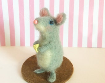 Hand Felted Mouse Sculpture