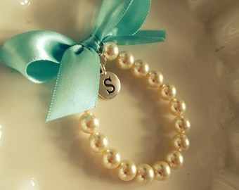 Flower Girl initial charm bracelet, personalized girls bracelet,  custom made flower girl gift with any ribbon color