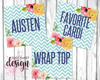 Agnes and Dora Style Cards, Facebook Album Covers, 5x5 Name Tags, Social Media Online Shop Sales Cards, Chevron Floral INSTANT DOWNLOAD