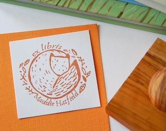 Autumnal Fox Bookplate Olive Wood Stamp
