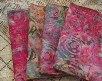 Set of 4 Handmade Pink Batik Fabric Napkins With Green, Gray and Blue, Cotton Napkins, Cloth Napkins, Dinner Napkins, Luncheon Napkins