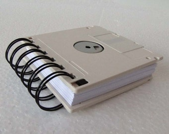 Floppy Disk Notebook JUMBO Off White Computer Disk Recycled Geek Gear Blank Mini 125 sheets