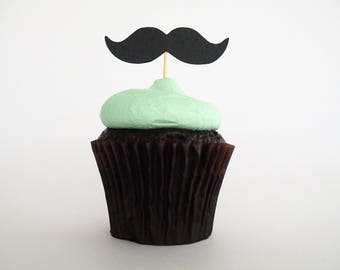 READY TO SHIP! Moustache cupcake toppers | Mustache cupcake toppers | Little man toppers | Baby shower toppers | Boys birthday toppers