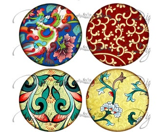ASIAN ORNAMENT (3) Digital Collage Sheet - Pocket Mirror & craft 12 circles 2.5 inch - 63mm - see promo - Instant Download