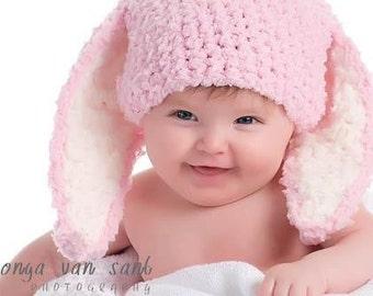 0 to 3m Baby Hat Newborn Bunny Hat Baby Shower Gift Bunny Photo Prop Baby Pink Crochet Baby Bunny Ear Rabbit Hat Girl Baby Hat