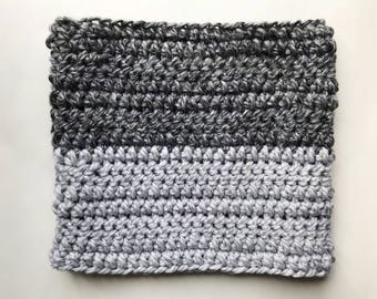 SMOKE ||| Cozy handmade wool cowl scarf from the Two-Tone Collection